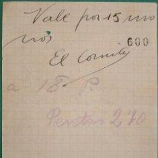 Manuscritos antiguos: ASTURIAS. VALE DEL SINDICATO DEL TRANSPORTE TERRESTRE. CNT-AIT. GIJÓN. GUERRA CIVIL. Lote 194940953