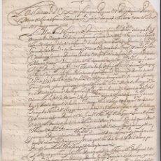 Manuscritos antiguos: RELACIÓN AL DUQUE DE CIUDAD REAL. SOBRE SOCORROS A LAS GENTES DE GUERRA DE FUENTERRABÍA. 1615. Lote 194943443