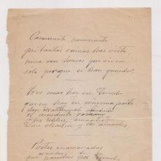 Manuscritos antiguos: VERSOS INÉDITOS SOBRE TERUEL DE EMILIO FERRARI (VALLADOLID, 1850 - MADRID, 1907) VER DORSO. POESÍA. . Lote 194957116