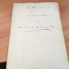 Manuscritos antiguos: TESTIMONIO DE TESTAMENTO MANUSCRITO BARCELONA 1863 (AB-1). Lote 194996495