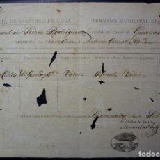 Manuscritos antiguos: TABACO - PERMISO DE TRASLADO DE 400 TERCIOS DE TABACO - HOLGUIN CUBA 1887. Lote 195108118