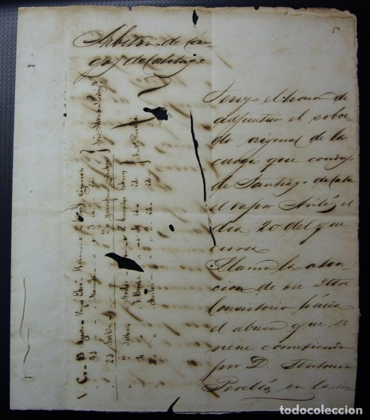 TABACO - ARBITRIO DE CARGA DE CABOTAJE - GIBARA CUBA 1883 (Coleccionismo - Documentos - Manuscritos)
