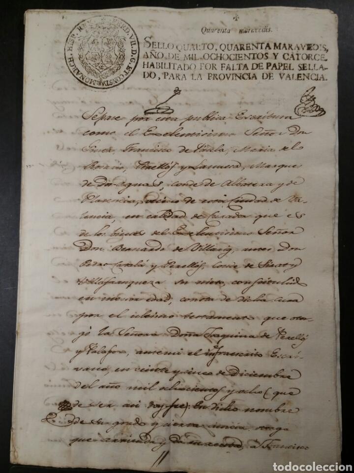 GODELLA VALENCIA 1814 CONTRATO RARO SELLO FISCAL FALTA PAPEL GUERRA INDEPENDENCIA (Coleccionismo - Documentos - Manuscritos)