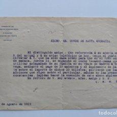 Manuscritos antiguos: 1919 FERROCARRILES - CARTA CONDE DE SANTA ENGRACIA AL DIRECTOR DE LA ESTACION DEL NORTE. Lote 195112718
