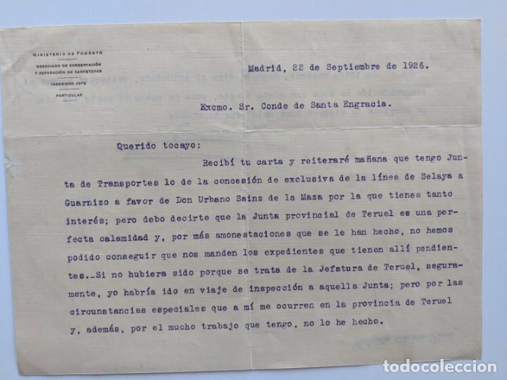 1926 FERROCARRILES - CARTA DE RECOMENDACION PARA LA CONCESION DE LA LINEA SELAYA A GUARNIZO (Coleccionismo - Documentos - Manuscritos)
