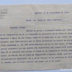 Manuscritos antiguos: 1926 FERROCARRILES - CARTA DE RECOMENDACION PARA LA CONCESION DE LA LINEA SELAYA A GUARNIZO. Lote 195113177