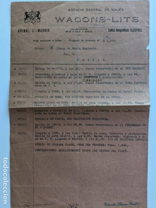 1920 PRESUPUESTO DE WAGONS LITS AL CONDE DE SANTA ENGRACIA MADRID-IRUN EXCEPCIONAL (Coleccionismo - Documentos - Manuscritos)