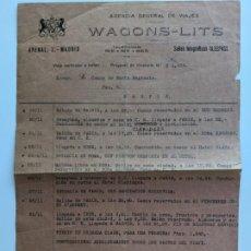 Manuscritos antiguos: 1920 PRESUPUESTO DE WAGONS LITS AL CONDE DE SANTA ENGRACIA MADRID-IRUN EXCEPCIONAL. Lote 195116116