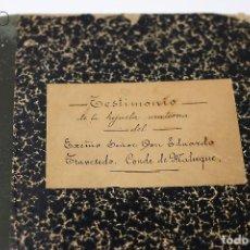 Manuscritos antiguos: TESTIMONIO CONDE DE MALUQUE 1915. Lote 195117322