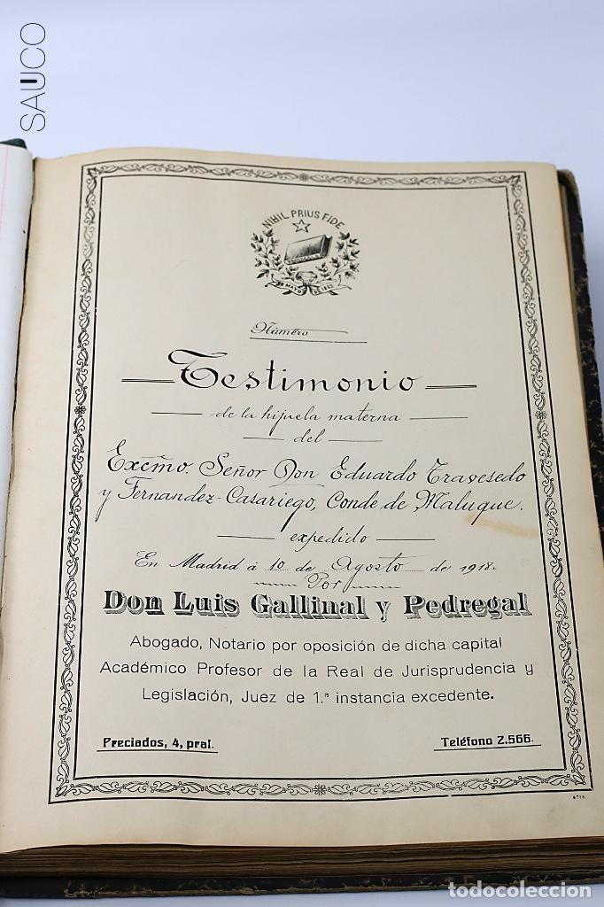Manuscritos antiguos: TESTIMONIO CONDE DE MALUQUE 1915 - Foto 3 - 195117322