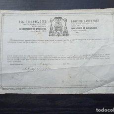 Manuscritos antiguos: CERTIFICADO DE AUTENTICIDAD DE RELIQUIA OSEA DE SANTA ÚRSULA VIRGEN Y MÁRTIR. 1878. . Lote 195186876