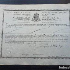 Manuscritos antiguos: CERTIFICADO DE AUTENTICIDAD DE RELIQUIA DE SAN HILARIO 1898. . Lote 195188755