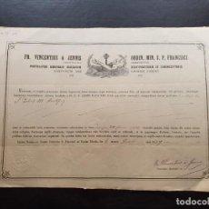 Manuscritos antiguos: CERTIFICADO DE AUTENTICIDAD DE RELIQUIA OSEA DE SAN FELICIIS III PONTIFICIS. 1879. . Lote 195194611