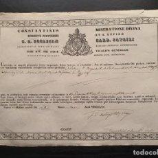 Manuscritos antiguos: CERTIFICADO DE AUTENTICIDAD DE VARIAS RELIQUIAS 1865. OBISPADO DE OSMA, SORIA. Lote 195195441