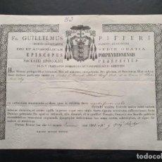 Manuscritos antiguos: CERTIFICADO AUTENTICIDAD RELIQUIA ÓSEA DE SAN BERNARDO ABAD Y TÚNICA DE SANTA CLARA DE ASÍS 1901. . Lote 195196027