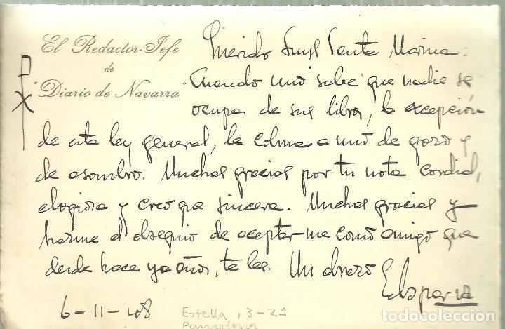 579.- EL REDACTOR JEFE DE DIARIO DE NAVARRA - CARTA ENVIADA AL FALANGISTA LUYS SANTA MARINA (Coleccionismo - Documentos - Manuscritos)