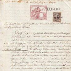 Manuscritos antiguos: 1879 TRUJILLO TORREMOCHA (CACERES) FISCAL 10º 1 PTS MANUSCRITO SELLO PAGOS ESTADO B SOCIEDAD TIMBRE. Lote 195212673