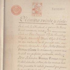 Manuscritos antiguos: 1922 ABRERA (BARCELONA) FISCAL 2º 50 PTS SERIE 1919-26 DOCUMENTO MANUSCRITO HERENCIA. Lote 195226440