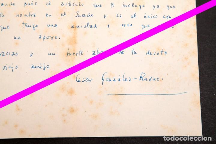 Manuscritos antiguos: CÉSAR GONZÁLEZ RUANO - CARTA MANUSCRITA - A LUYS SANTA MARINA - Foto 2 - 195275885