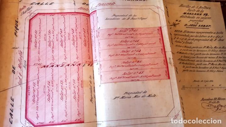 Manuscritos antiguos: POBLE SEC - 1877 - BARCELONA - ESCRITURA Y PLANOS JOSE SABAT - HUERTAS DE S. BELTRAN - Foto 4 - 195284477
