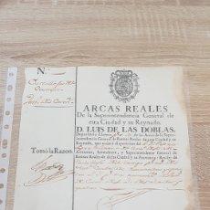 Manuscritos antiguos: RECIBO CASTILLEJA DEL CAMPO, SEVILLA. 1785 LUIS DE LAS DOBLAS, DEPOSITARIO LLAVERO S.M. ARCAS REALES. Lote 195296977