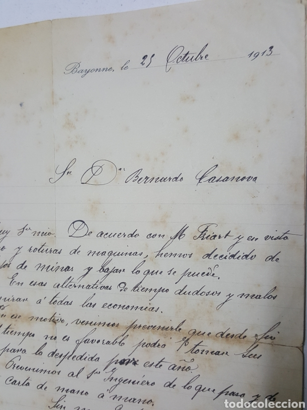 Manuscritos antiguos: Carta manuscrita de Mines de Laruns Bayona en español año 1913 paralizacion minas - Foto 2 - 195330891