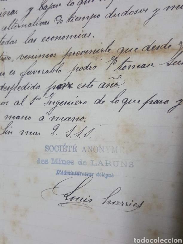 Manuscritos antiguos: Carta manuscrita de Mines de Laruns Bayona en español año 1913 paralizacion minas - Foto 3 - 195330891