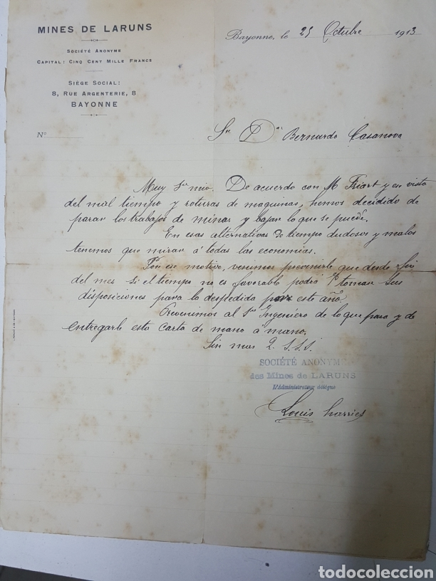 CARTA MANUSCRITA DE MINES DE LARUNS BAYONA EN ESPAÑOL AÑO 1913 PARALIZACION MINAS (Coleccionismo - Documentos - Manuscritos)