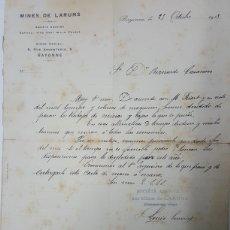 Manuscritos antiguos: CARTA MANUSCRITA DE MINES DE LARUNS BAYONA EN ESPAÑOL AÑO 1913 PARALIZACION MINAS. Lote 195330891