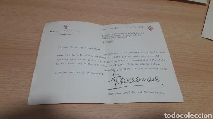 CARTA DEL PRESIDENTE DEL CONSEJO ECONOMICO SINDICAL DE GUIPUZCUA-SAN SEBASTIÁN 1955 FALANGE (Coleccionismo - Documentos - Manuscritos)