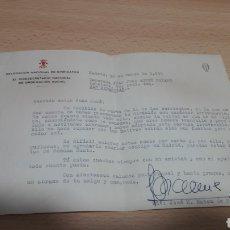 Manuscritos antiguos: CARTA DESDE SAN SEBASTIAN DEL VICESECRETARIO NACIONAL DE LA DELEGACION NACIONAL DE SINDICATOS 1959-F. Lote 195337481