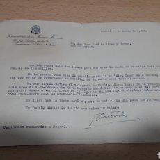 Manuscritos antiguos: CARTA 1957 DESDE SAN SEBASTIAN DESDE LA SUBSECRETARÍA DE LA MARINA MERCANTE 1957. Lote 195337622