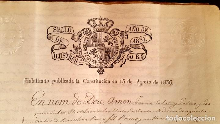 POBLE SEC - FON TROBADA - MONTJUIC - BARCELONA - 1837 - ESCRITURAS - JAUME SABAT (Coleccionismo - Documentos - Manuscritos)