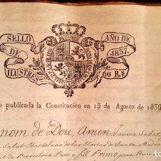 Manuscritos antiguos: POBLE SEC - FON TROBADA - MONTJUIC - BARCELONA - 1837 - ESCRITURAS - JAUME SABAT. Lote 195339848