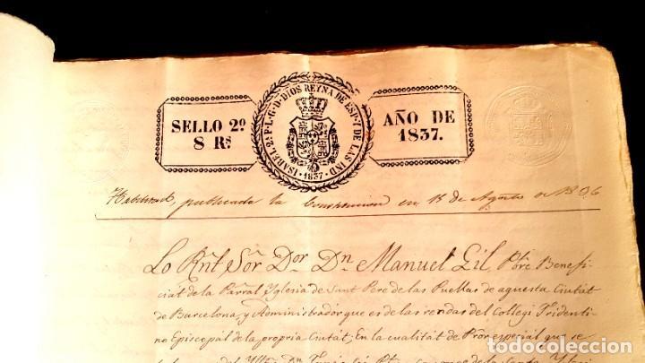 Manuscritos antiguos: POBLE SEC - FON TROBADA - MONTJUIC - BARCELONA - 1837 - ESCRITURAS - JAUME SABAT - Foto 3 - 195339848