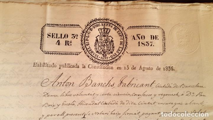 Manuscritos antiguos: POBLE SEC - FON TROBADA - MONTJUIC - BARCELONA - 1837 - ESCRITURAS - JAUME SABAT - Foto 4 - 195339848