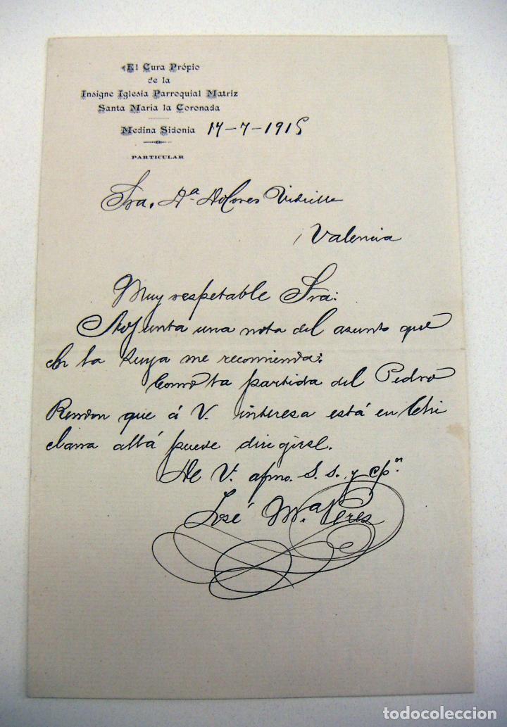 DOCUMENTO DEL CURA DE SANTA MARIA LA CORONADA MEDINA SIDONIA 1915 (Coleccionismo - Documentos - Manuscritos)