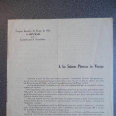 Manuscritos antiguos: DOCUMENTO AÑO 1944 CONGRESO EUCARÍSTICO DE VIZCAYA CIRCULAR A PARROCOS. Lote 195412707