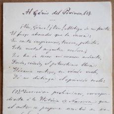 Manuscritos antiguos: MANUSCRITO ORIGINAL SIGLO XIX. POESÍA DE SERAFIN OLAVE. NAVARRA. Lote 195431998
