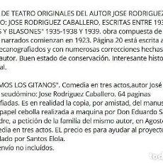 Manuscritos antiguos: ASI SOMOS LOS GITANOS. 1950. ESPIGAS Y BLASONES ENTRE 1935-50 JOSE RODRIGUEZ CABALLERO.. Lote 195448188