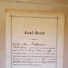 Manuscritos antiguos: ANTIGUO DOCUMENTO ALEMAN . KAUF BRIEF . FECHADO EN 1878 . Lote 195454890