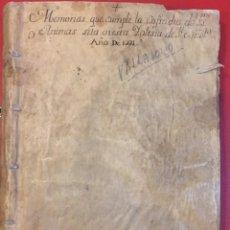 Manuscritos antiguos: VALLADOLID, RAZON DE LAS MEMORIAS QUE SE HALLAN FUNDADAS EN ESTA COFRADIA DEL SACRAMENTO 1789. Lote 195456697