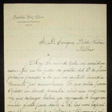 Manuscritos antiguos: CARTA DEL CAPELLÁN DE PRISIONES PASCASIO DÍEZ, DE TORRELAVEGA, AGRADECE DONACIÓN PARA VIUDA. 1904.. Lote 195494141