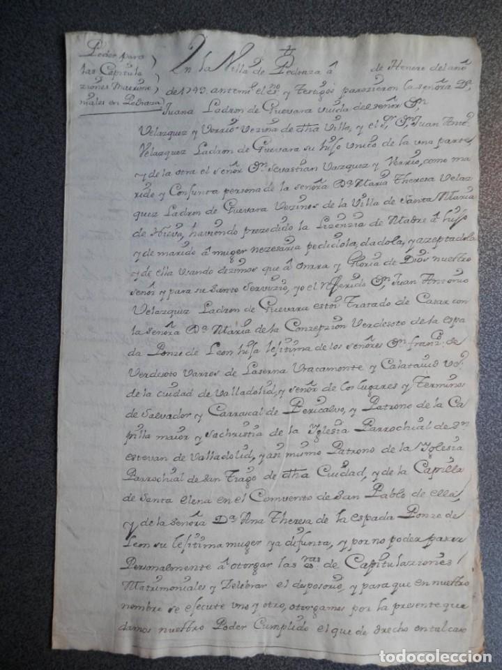 MANUSCRITO AÑO 1749 PEDRAZA - MADRID PODER NOTARIAL (Coleccionismo - Documentos - Manuscritos)