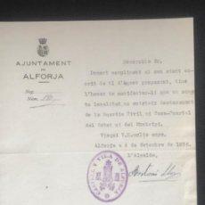 Manuscritos antiguos: MANUSCRITO DEL AJUNTAMENTAMIENTO DE ALFORJA TARRAGONA FIRMA DEL ALCALDE ANTONI LLOPIS 1935. . Lote 196828157