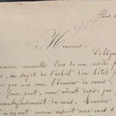 Manuscritos antiguos: CARTA DEL ARQUITECTO STEIGER A LA REINA MARIA CRISTINA. 1841. Lote 197025752