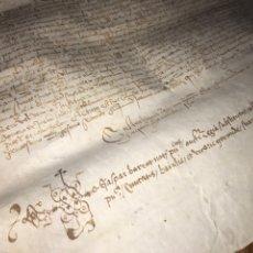 Manuscritos antiguos: PERGAMINO 1532. CENSAL GERONA. FIRMA NOTARIO GASPAR BARROT.. Lote 197265217