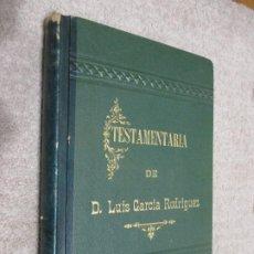 Manuscritos antiguos: TESTAMENTARÍA DE D. LUIS GARCÍA RODRÍGUEZ, SANTANDER, PALENCIA, BURGOS, INDUSTRIAL HARINERO 1902. Lote 197318920