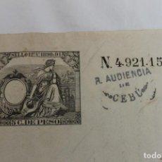 Manuscrits anciens: SECRETARIA DE GOBIERNO AUDIENCIA DE CEBÚ, 1891 FILIPINAS, SELLO 12º 5 CENTIMOS DE PESO. Lote 197408915