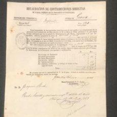 Manuscritos antiguos: RECAUDACION DE CONTRIBUCIONES DIRECTAS PUEBLO DE GRACIA BARCELONA 1853. MANUSCRITO.. Lote 197451278